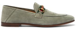 Gucci Brixton Horsebit Suede Loafers - Grey