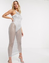 Sorelle UK knitted shimmer high neck maxi dress in silver