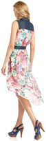 Luxology Dress, Sleeveless Floral-Print Denim High-Low