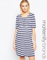 Isabella Oliver Striped Dress With Zip Detail