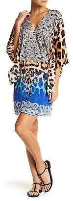 La Moda Clothing Leopard Drawstring-Waist Caftan Coverup