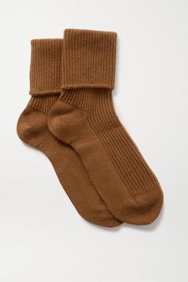 Johnstons of Elgin Ribbed Cashmere Socks - Brown
