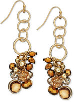 INC International Concepts Earrings, Gold-Tone Topaz and Bronze Crystal Cluster Linear Chain Earrings