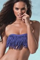 L*Space Swimwear Dolly Fringe Bandeau Bikini Top in Iris