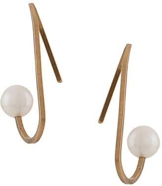 Hsu Jewellery Curved Line Peal Earrings