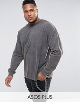 Asos PLUS Oversized Long Sleeve T-Shirt In Heavy Weight Jersey With Acid Wash