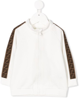 Fendi Kids FF logo-tape zipped bomber jacket