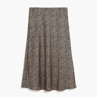 J.Crew Animal-print satin-back crepe A-line midi skirt