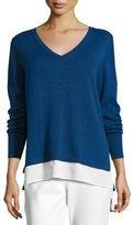 Joan Vass Long-Sleeve Sweater W/ Woven Hem, Plus Size