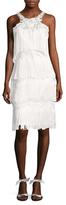 Marchesa Floral Appliqu&eacute Fringe Knee Length Dress