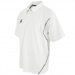 Canterbury of New Zealand Cream and Navy Cricket Shirt