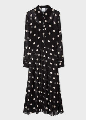 Women's Chiffon Polka Dot Dress With Pleat Skirt