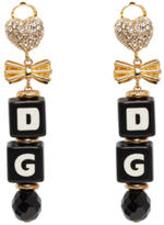 Dolce & Gabbana Black and Gold Dice Clip-On Earrings