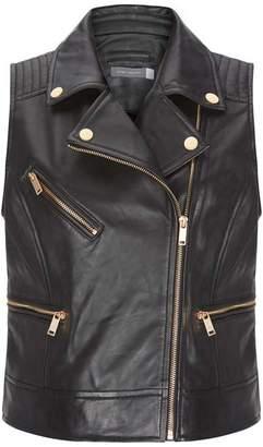 Mint Velvet Black Leather Biker Waistcoat
