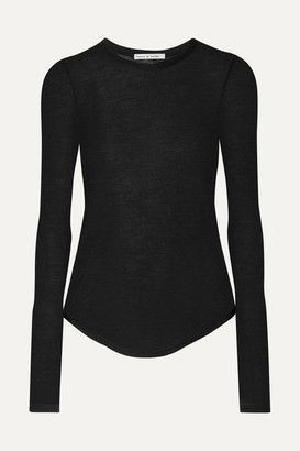 FRANCES DE LOURDES Romy Slub Cashmere And Silk-blend Top - Black