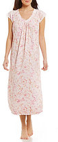 Miss Elaine Lace-Trimmed Floral Scroll Nightgown