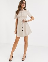 Asos Design DESIGN leather look mini shirt dress