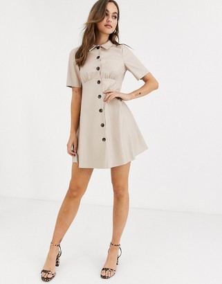 ASOS DESIGN leather look mini shirt dress