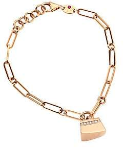 Roberto Coin Women's Sauvage Privé 18K Rose Gold & Diamond Pavé Oval Link Charm Bracelet