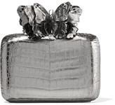 Nancy Gonzalez Appliquéd Python-trimmed Crocodile Clutch - Gunmetal
