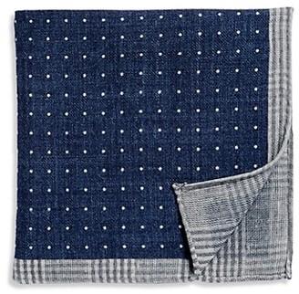 Brunello Cucinelli Reversible Plaid & Dot-Print Pocket Square