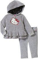 Hello Kitty Ruffled Velour Active Set (Baby) - Heather Gray-3-6M