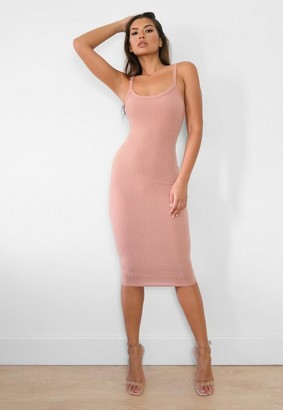 Missguided Tan Rib Scoop Neck Cami Midi Dress