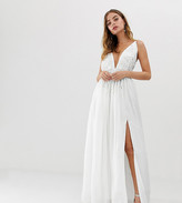 Dolly & Delicious Petite 3D applique embellished plunge front maxi dress with thigh split in white