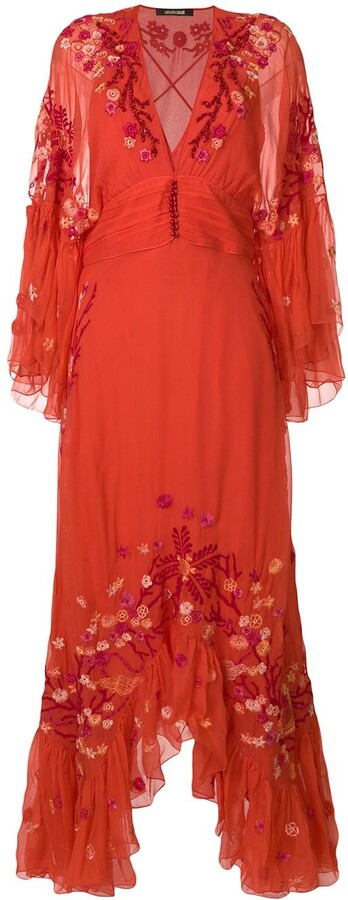 Roberto Cavalli Floral Embroidered Frill Trim Maxi Dress