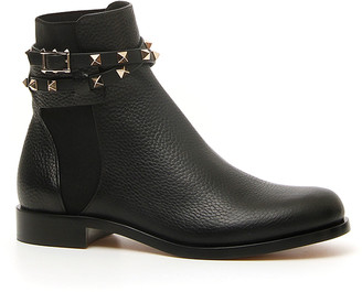 Valentino Rockstud Beatle Leather Ankle Boot