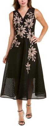 Teri Jon By Rickie Freeman Brocade Midi Dress