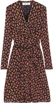 Diane von Furstenberg Brenda Wrap-effect Printed Stretch-mesh Dress