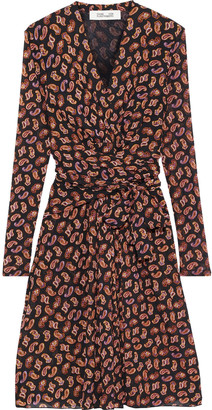 Diane von Furstenberg Wrap-effect Printed Stretch-mesh Dress