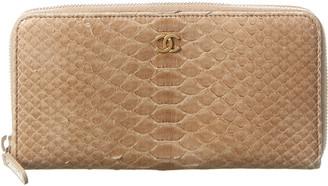 Chanel Beige Python Zip-Around Wallet