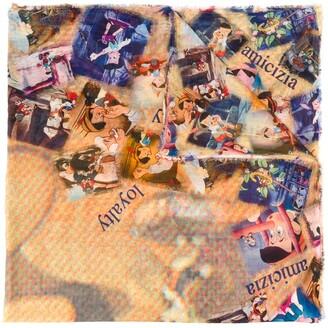 Faliero Sarti x Disney Pinocchio motif lightweight scarf