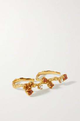 PACHAREE Bloom Gold-plated Multi-stone Two-finger Ring - 54