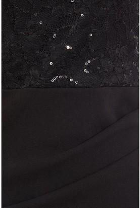 Quiz Sequin Lace Top Fishtail Maxi Dress - Black