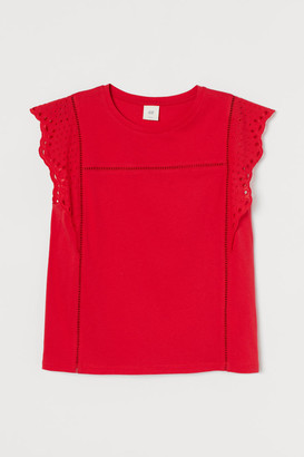 H&M Eyelet Embroidery-detail Top - Red