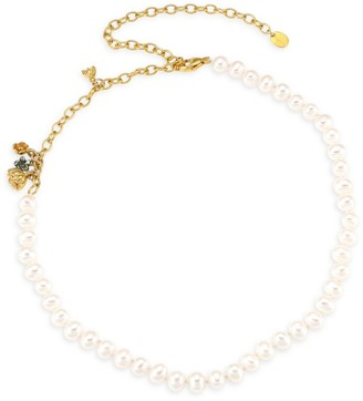 Chan Luu 18K Goldplated & 6-6.5 Pearl Strand Charm Necklace