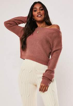 Missguided Petite Pink Cropped Off The Shoulder Sweater