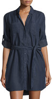 Velvet Heart Roll-Sleeve Button-Front Shirtdress, Overdye