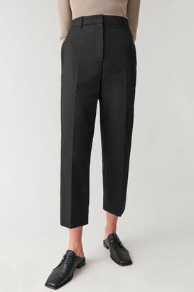 Cos Cotton-Linen Slim-Leg Cropped Trousers