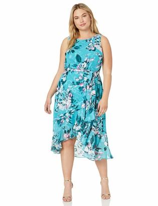 Taylor Dresses Women's Plus Size Sleeveless Floral Ruffle Hem midi Dress