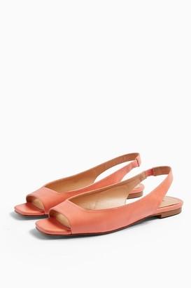 Topshop ANNIE Coral Square Peep Slingback Shoes