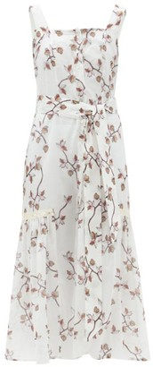 Galanthya - Camille Belted Floral-print Cotton-voile Dress - White Print