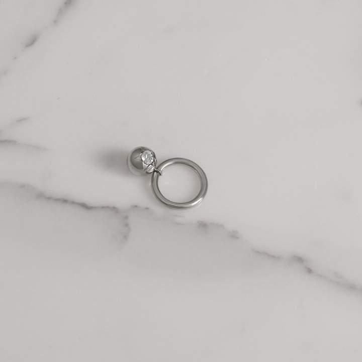 Burberry Crystal Charm Palladium-plated Ring