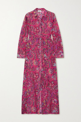 Etro Giannutri Belted Paisley-print Cotton And Silk-blend Shirt Dress - Pink