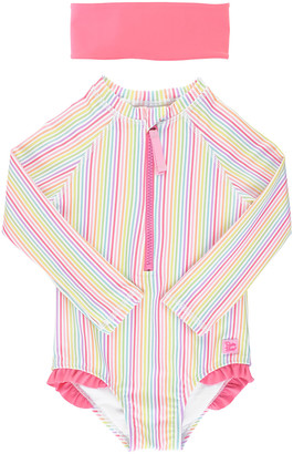 RuffleButts Girl's Rainbow Stripe Long-Sleeve One-Piece Rash Guard w/ Headband, Size 2-10