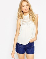Asos Sleeveless Top With Embroidered Yoke