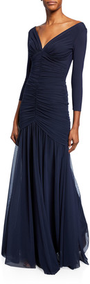Chiara Boni Dikta V-Neck 3/4-Sleeve Shirred Mermaid Gown